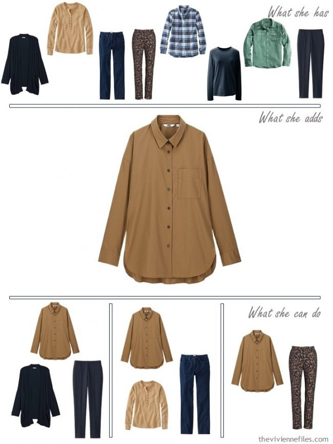 9. adding a camel shirt to a capsule wardrobe
