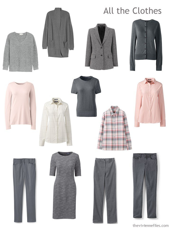 1. 13-piece travel wardrobe in grey and blush