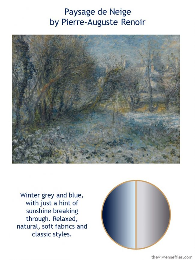 2. Paysage de Neige by Renoir with style guidelines and color palette