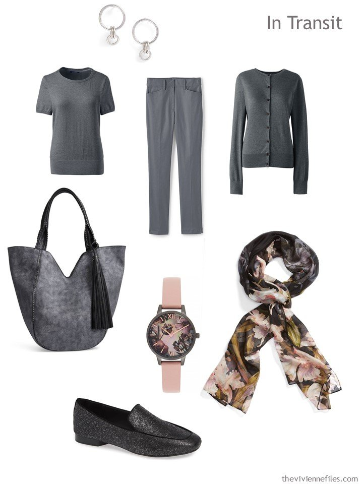 2. grey travel outfit with accessories