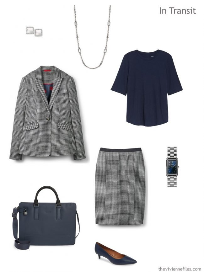 3. Business travel outfit in navy and white