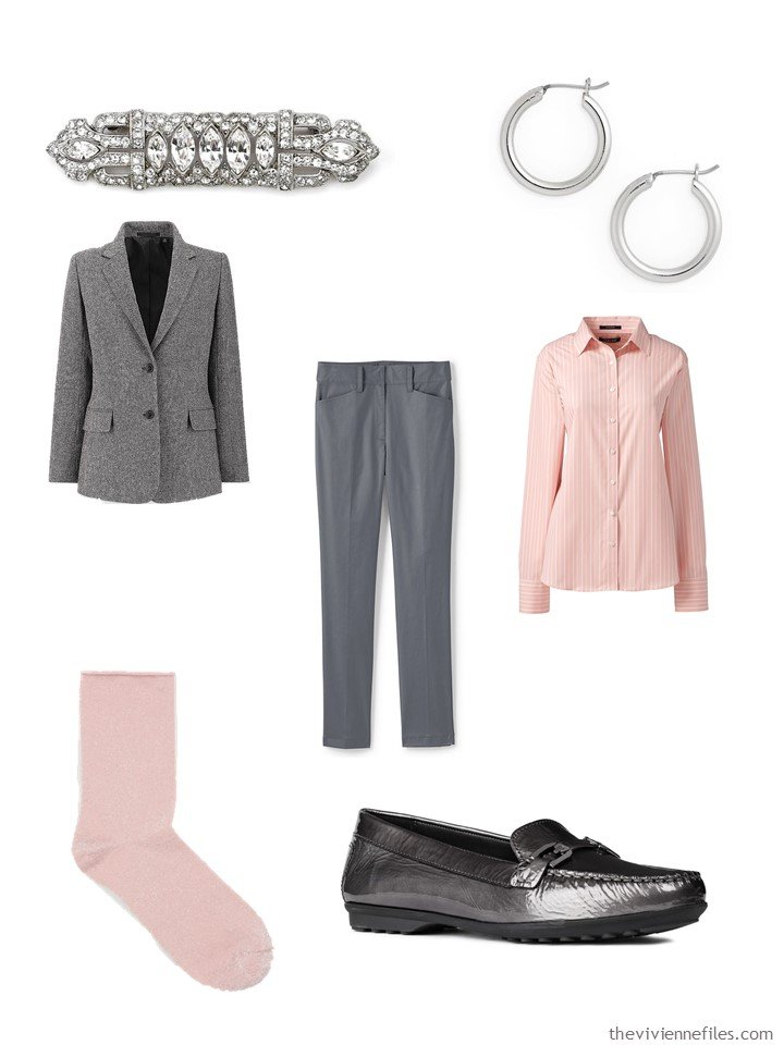 3. grey and blush outfit with accessories