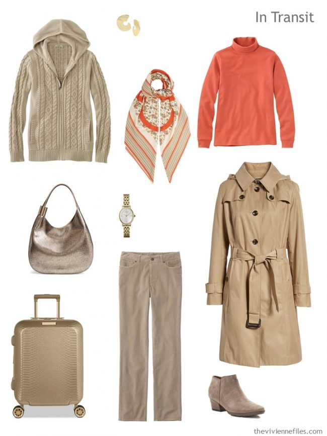 3. travel outfit in beige and orange