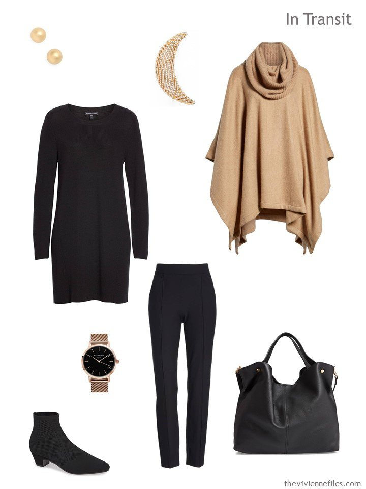 3. travel outfit in black and camel for cool weather