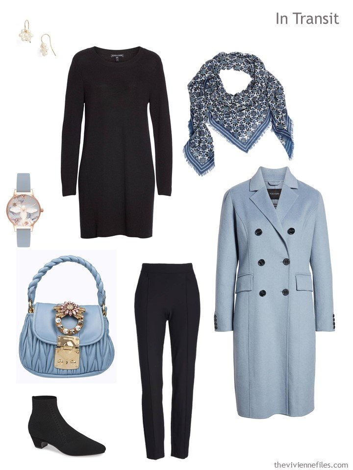 3. travel outfit in black and light blue