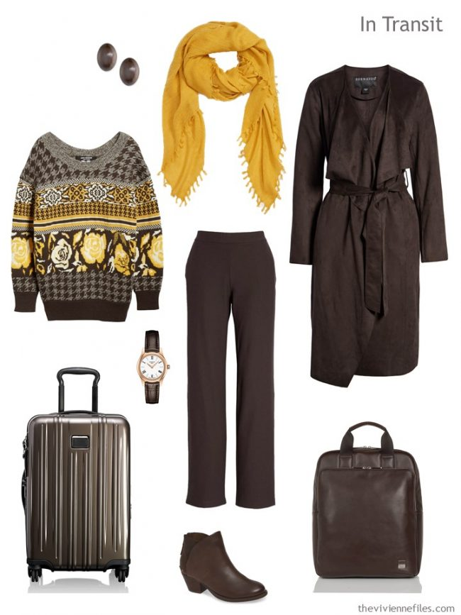 3. travel outfit in brown and gold