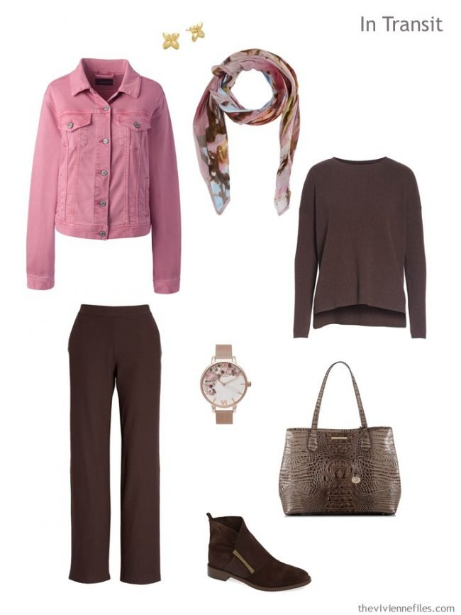 3. travel outfit in brown and pink denim