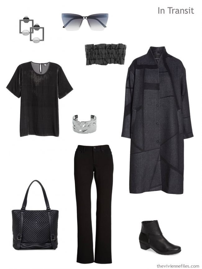 3. travel outfit in grey and black