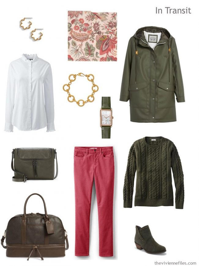 3. travel outfit in olive, white and pink