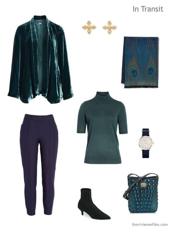 3. travel outfit in pine green and navy