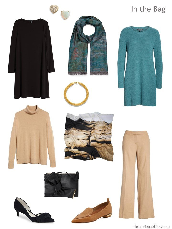 4. 4-piece travel wardrobe in black, camel and teal