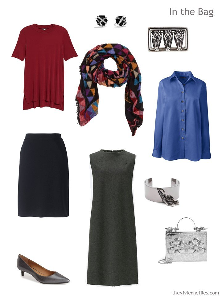 4. business travel capsule wardrobe in grey, black, red and blue
