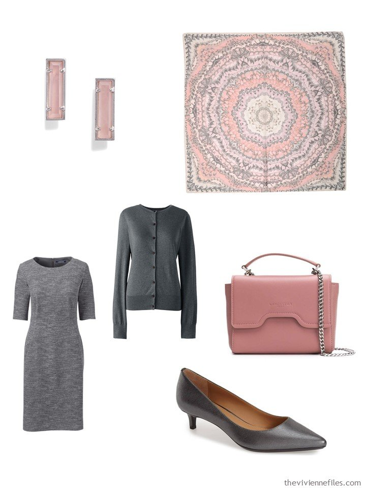 4. grey dress and cardigan with accessories