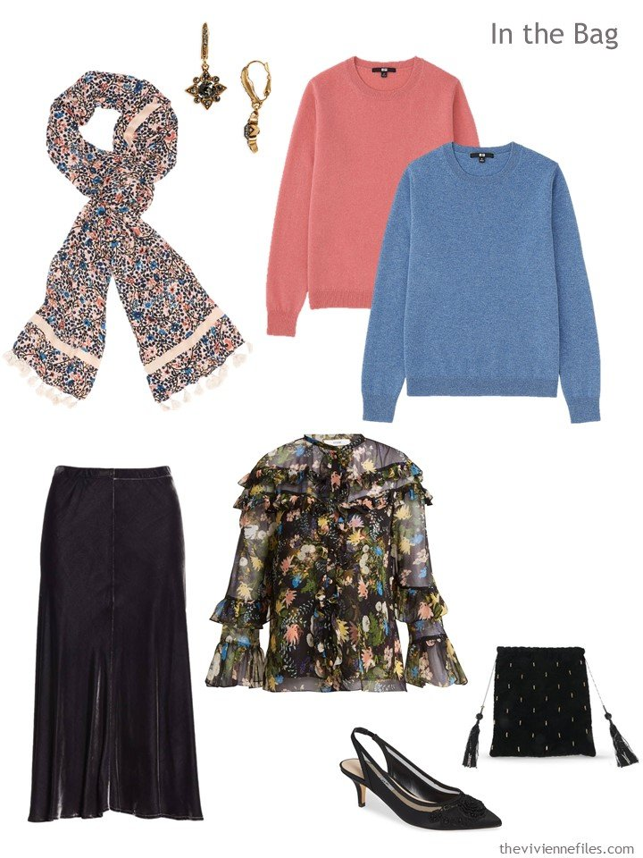 4. travel capsule wardrobe for autumn in black and pastels