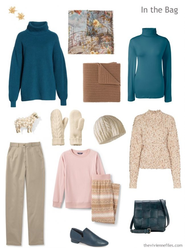 4. travel capsule wardrobe in beige, teal and orange
