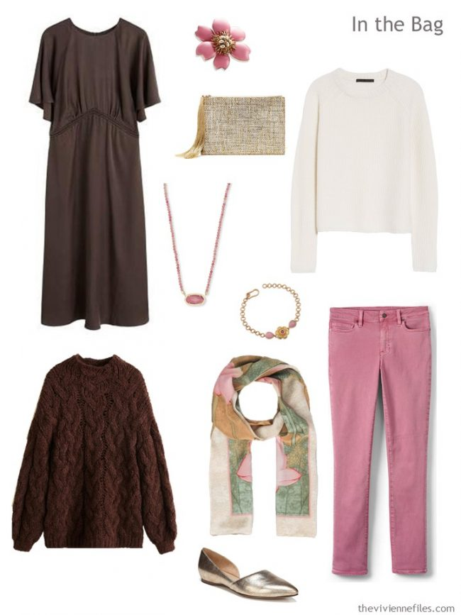 4. travel capsule wardrobe in brown, ivory and pink
