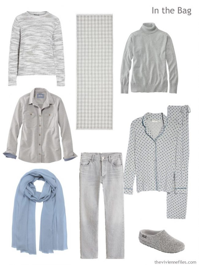 4. travel capsule wardrobe in grey and blue