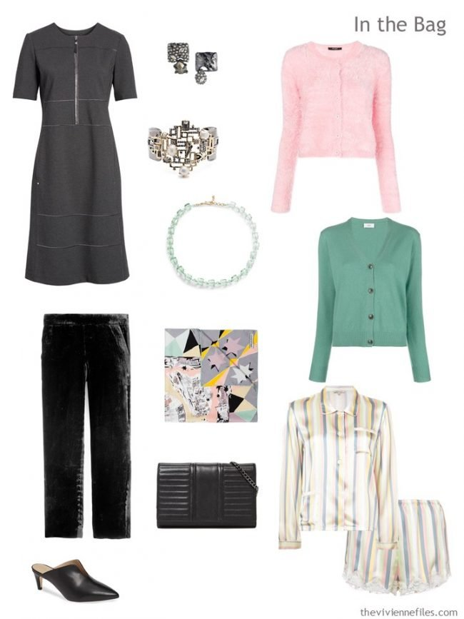4. travel capsule wardrobe in grey, black, pink and green