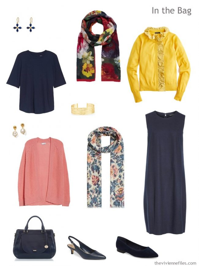 4. travel capsule wardrobe in navy with pink and yellow