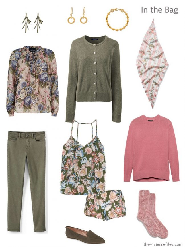 4. travel capsule wardrobe in olive green and pink