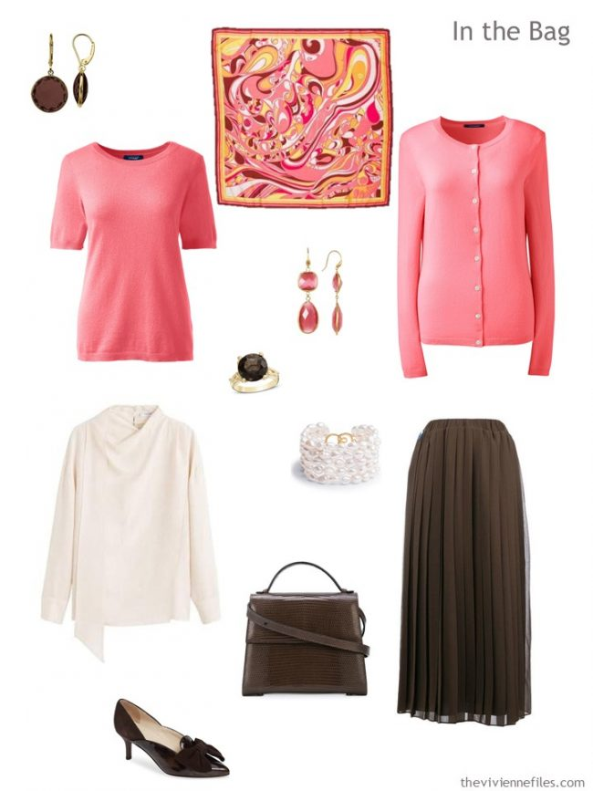 4. travel capsule wardrobe in pink, ivory and brown
