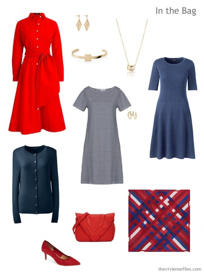 4. travel capsule wardrobe of 3 dresses and a cardigan