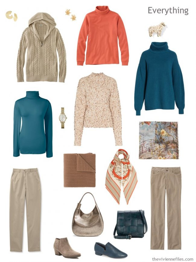 5. travel capsule wardrobe in beige, teal and orange