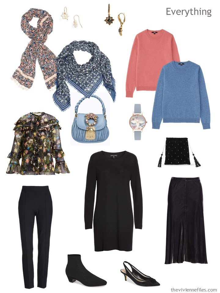 5. travel capsule wardrobe in black and pastels