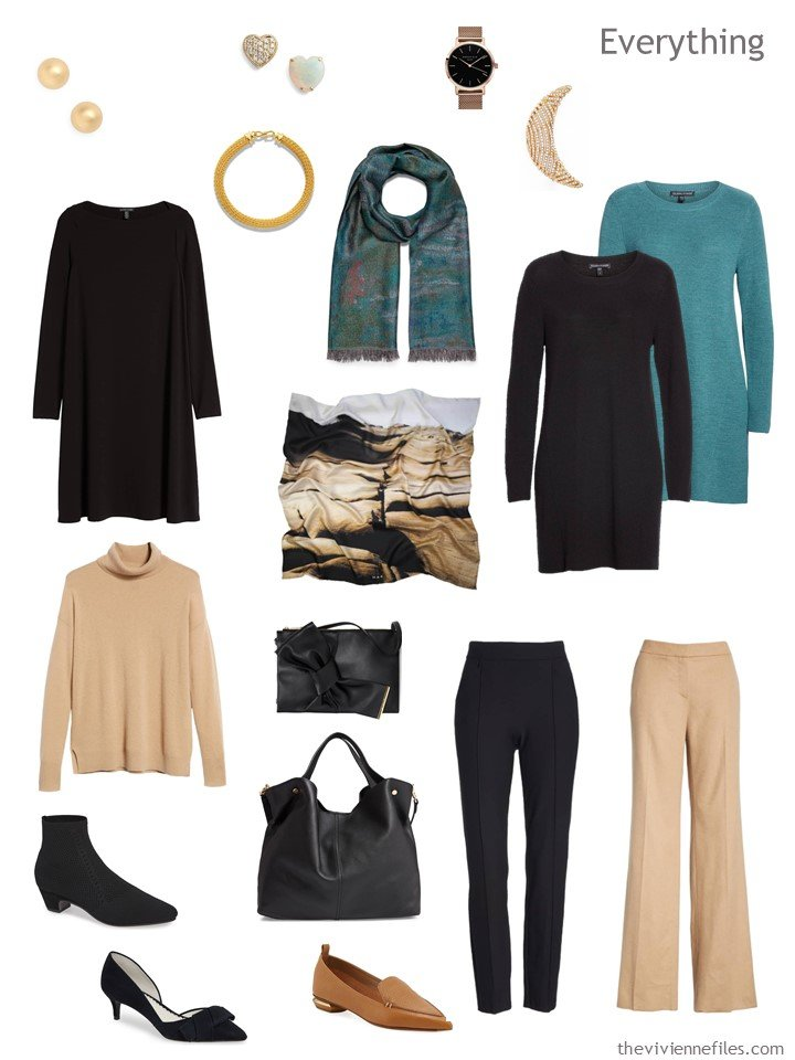 5. travel capsule wardrobe in black, camel and teal
