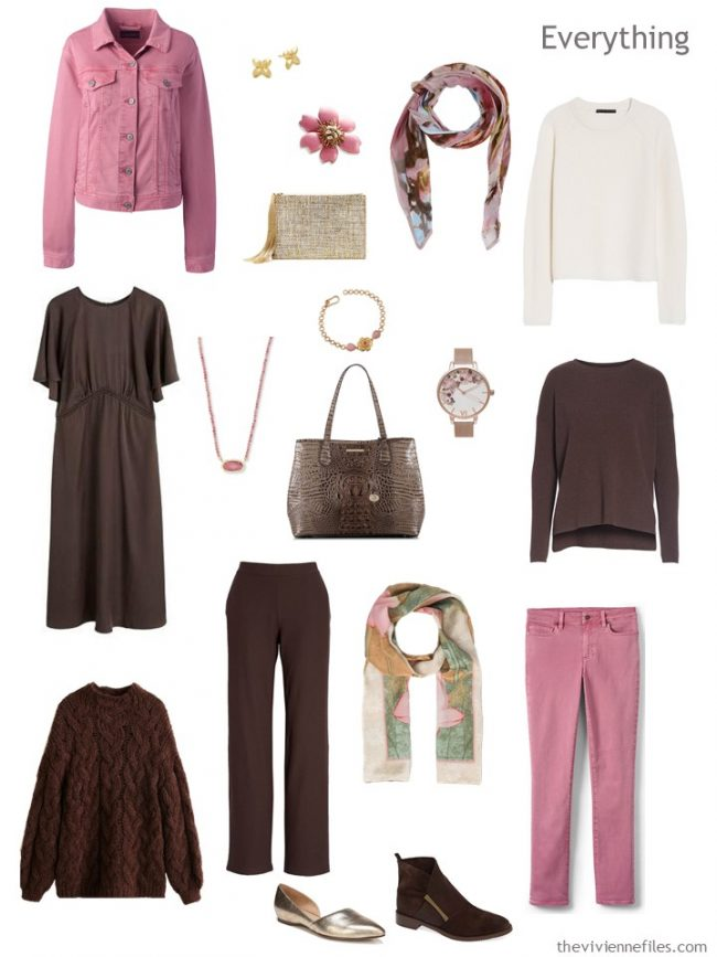 5. travel capsule wardrobe in brown, ivory and pink