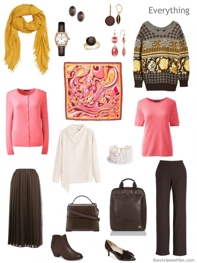 5. travel capsule wardrobe in brown, pink, ivory and gold