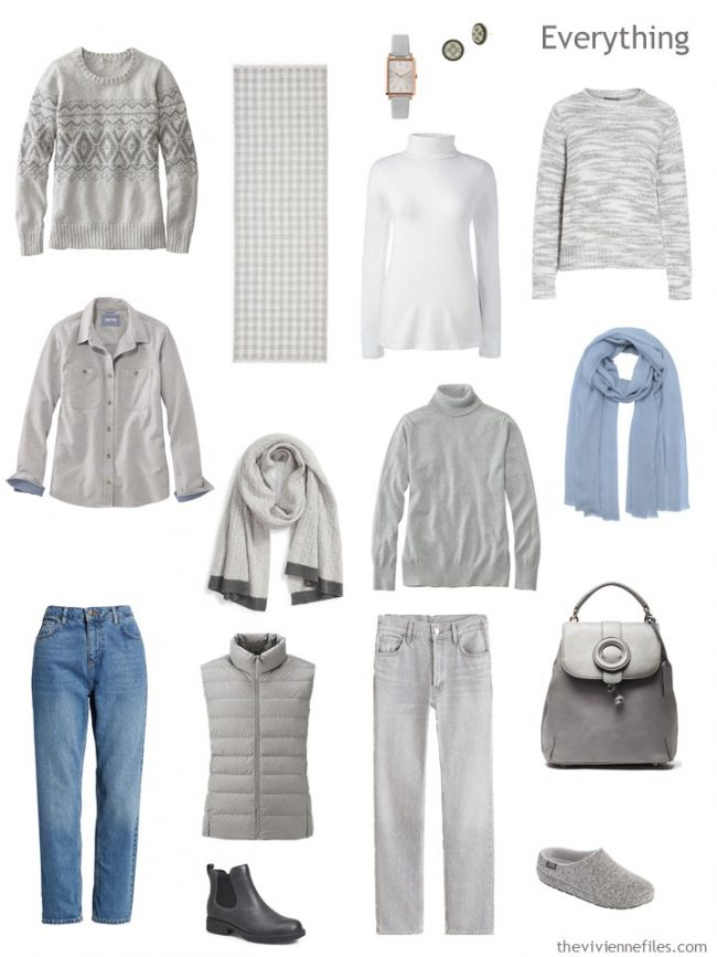 5. travel capsule wardrobe in grey and blue