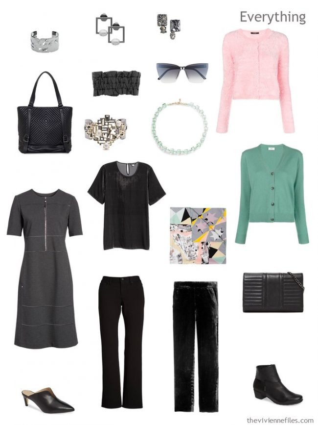 5. travel capsule wardrobe in grey, black, pink and green