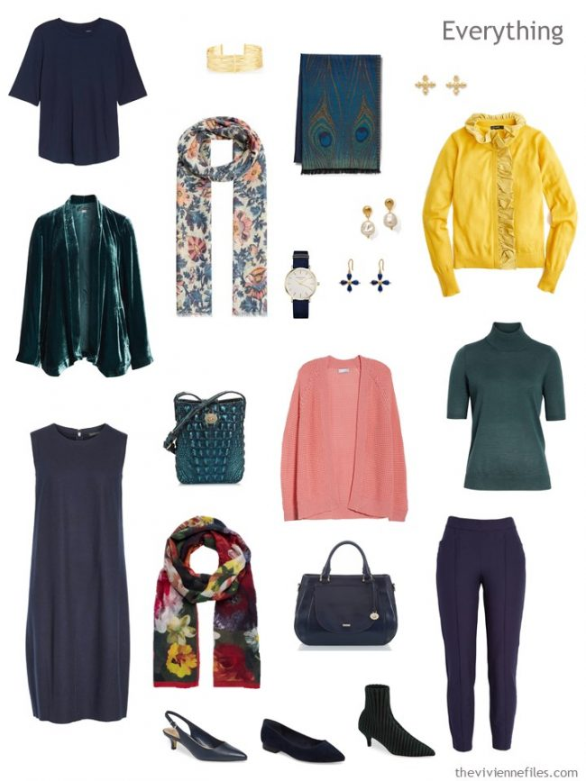 5. travel capsule wardrobe in navy, pine, pink and yellow