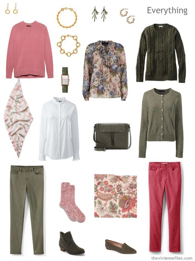 5. travel capsule wardrobe in olive, pink and whte