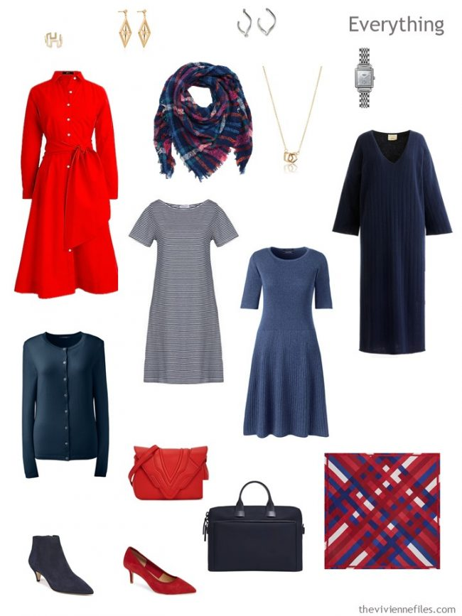 5. travel capsule wardrobe of 4 dresses and a cardigan
