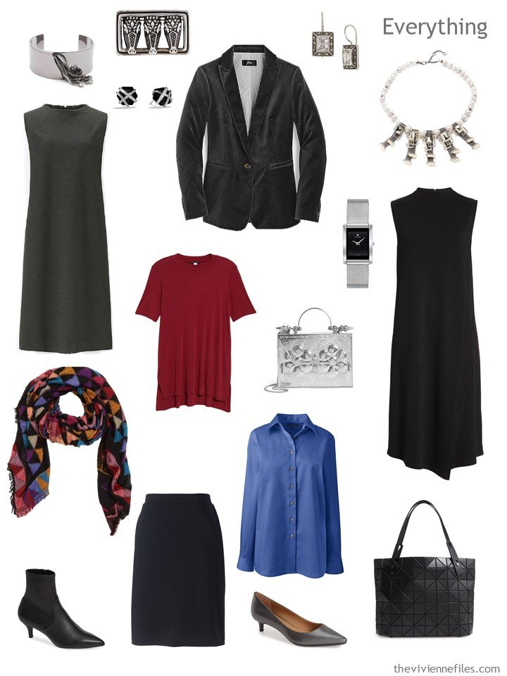 5.business travel capsule wardrobe in grey, black, blue and red