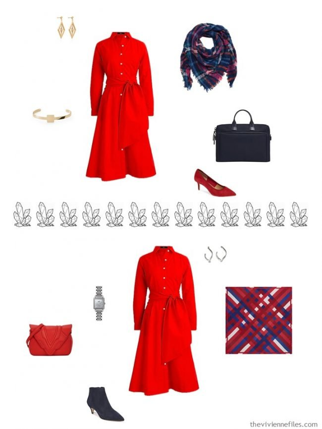 6. 2 ways to accessorize a red dress from a capsule wardrobe
