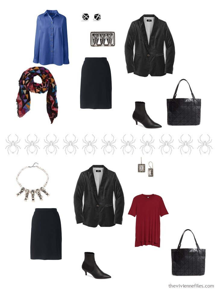 6. 2 ways to wear a black skirt from a business travel capsule wardrobe