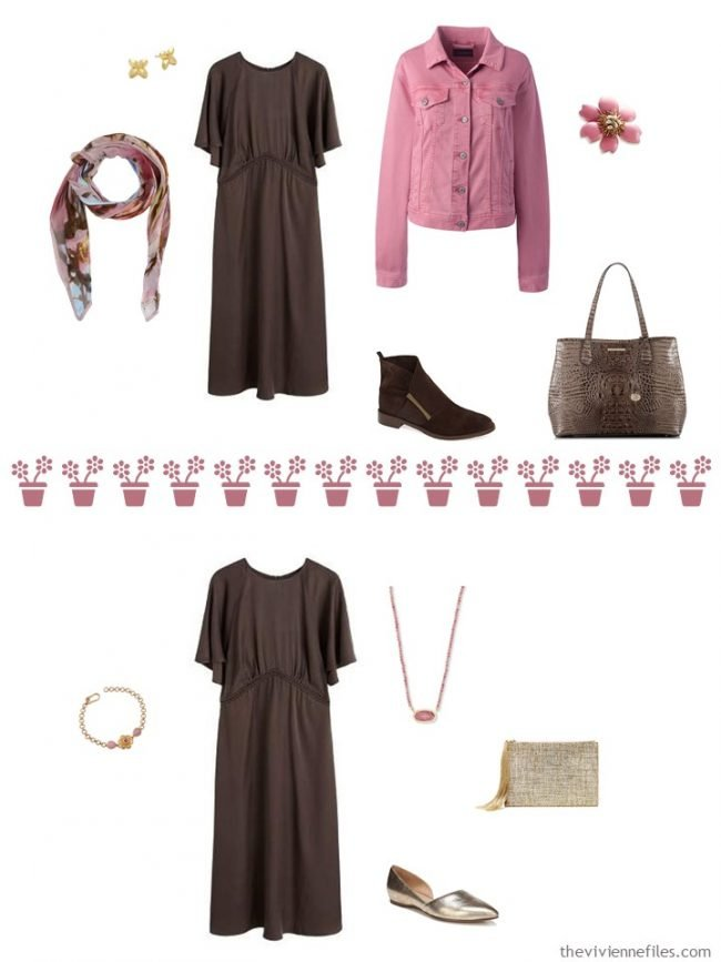 6. 2 ways to wear a brown dress from a travel capsule wardrobe