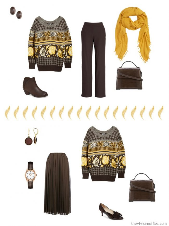 6. 2 ways to wear a brown sweater from a capsule wardrobe