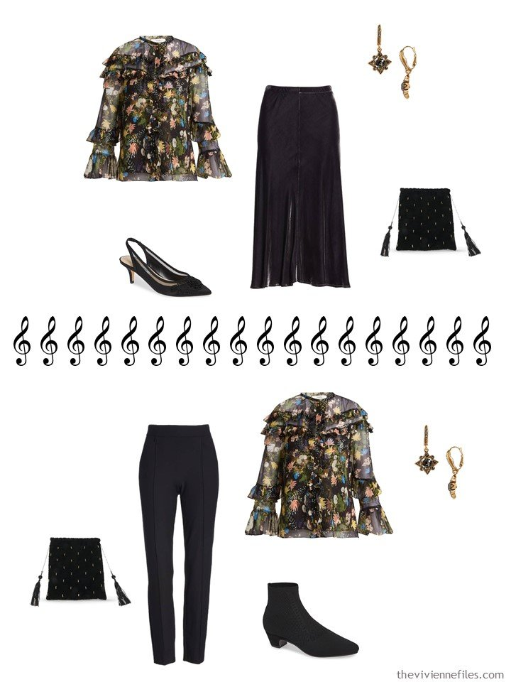 6. 2 ways to wear a dressy blouse from a travel capsule wardrobe