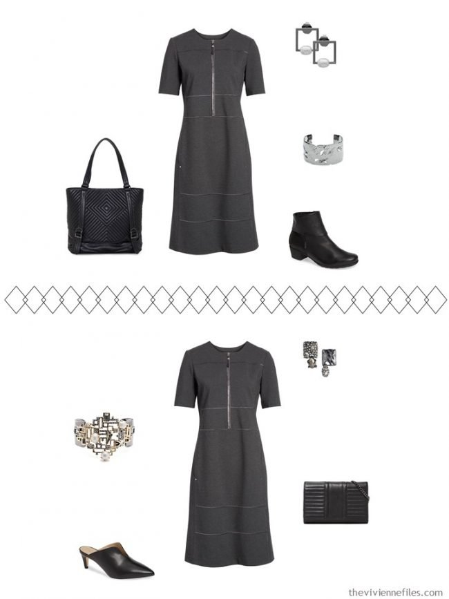 6. 2 ways to wear a grey dress from a travel capsule wardrobe