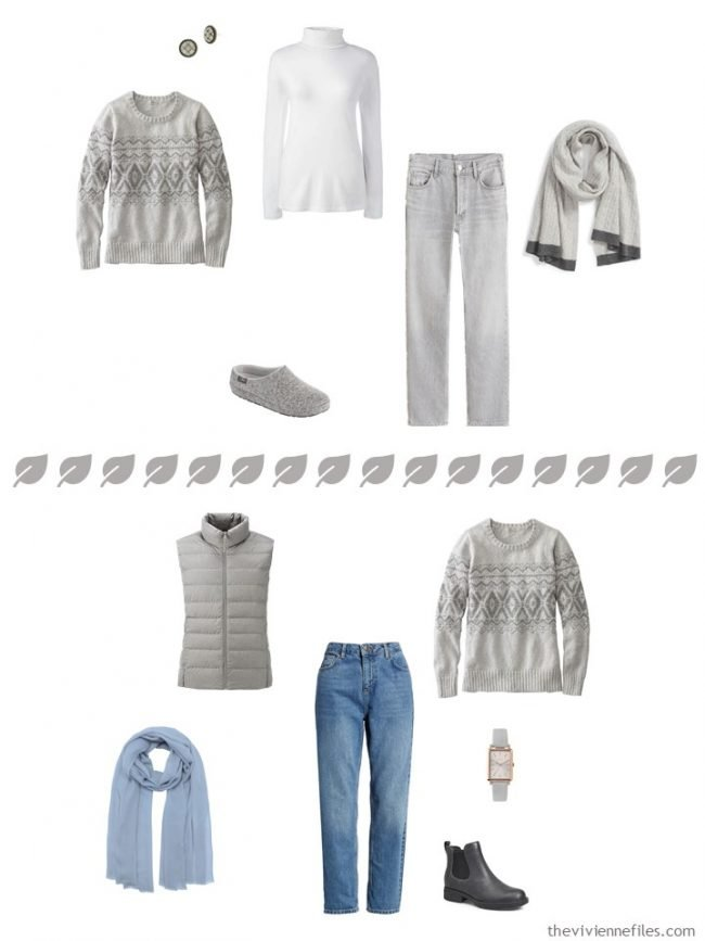 6. 2 ways to wear a grey sweater from a travel capsule wardrobe