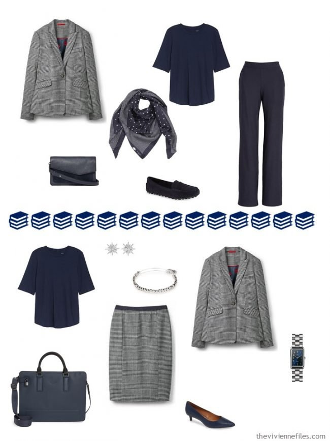 6. 2 ways to wear a plaid blazer from a travel capsule wardrobe
