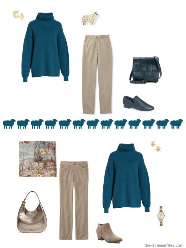 6. 2 ways to wear a teal turtleneck from a travel capsule wardrobe