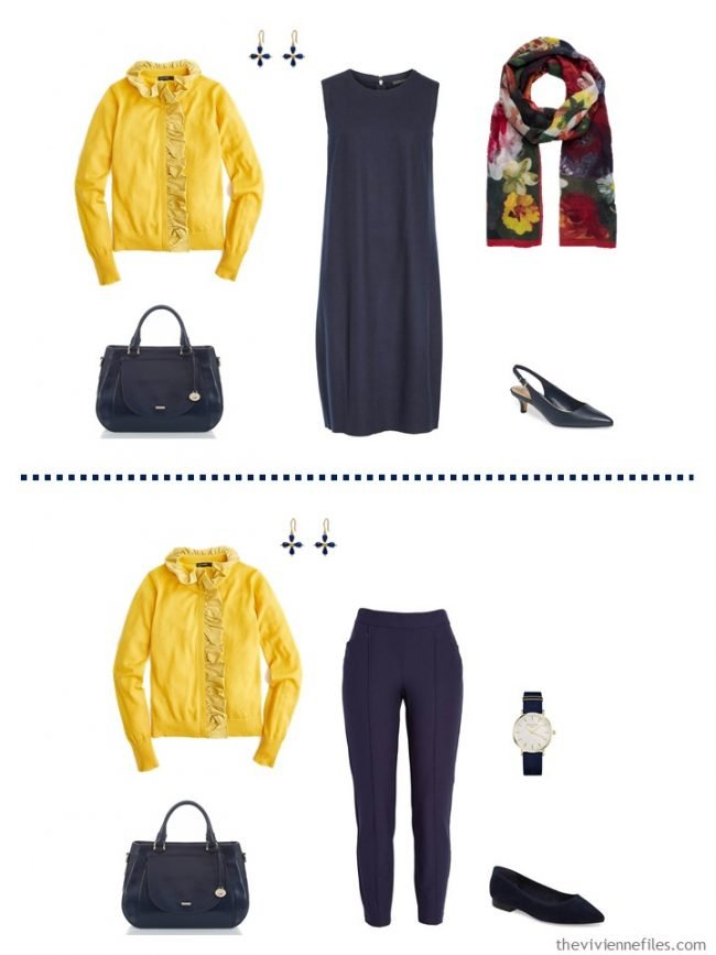 6. 2 ways to wear a yellow cardigan from a travel capsule wardrobe
