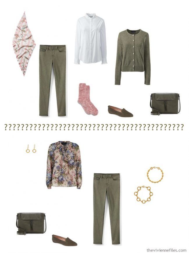 6. 2 ways to wear olive pants from a capsule wardrobe