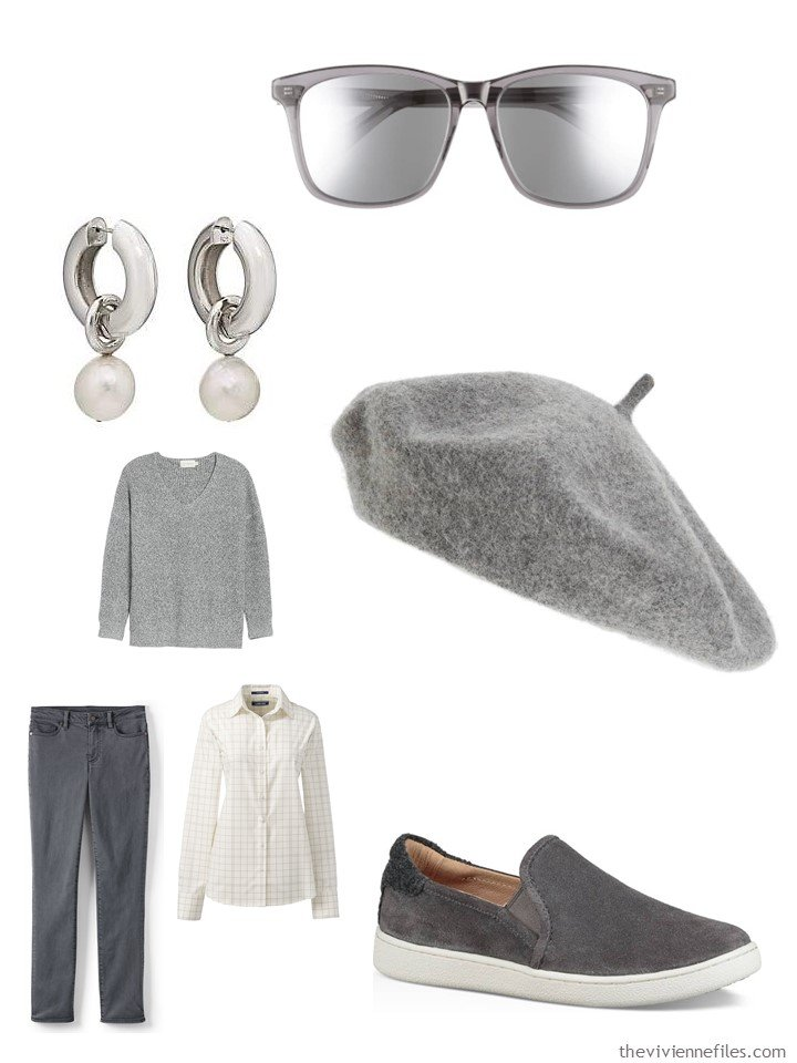 6. grey and ivory casual outfit with accessories