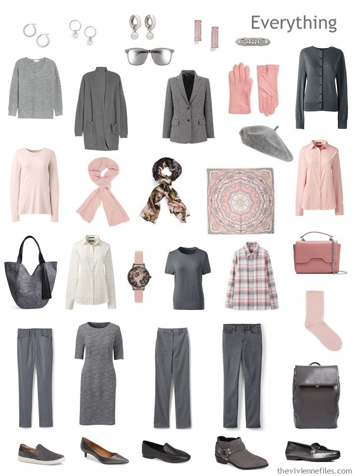 7. 13-Piece blush and grey travel wardrobe with accessories